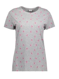 Jacqueline de Yong T-shirt JDYPERFECT S/S AOP TOP EXP 15157335 Light Grey Mela/FLAMINGO