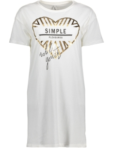 Only T-shirt onlEMMA S/S SIMPLE/COOL LONG TOP BO 15150949 Cloud Dancer/SIMPLE1