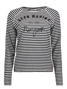 Only T-shirt onlVIVIAN L/S ONLY/MARINE TOP BOX J 15150910 Cloud dancer/ BLACK