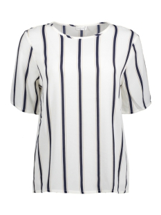 Jacqueline de Yong T-shirt JDYRUN S/S TOP 01 WVN 15143230 Cloud Dancer/RUN STRIPE