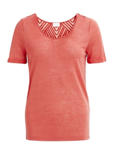 Vila T-shirt VISUMI S/S BACK LACE TOP-FAV 14045861 Spiced Coral