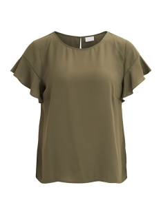 Vila T-shirt VILUCY S/S FLOUNCE TOP - NOOS 14045675 Ivy Green