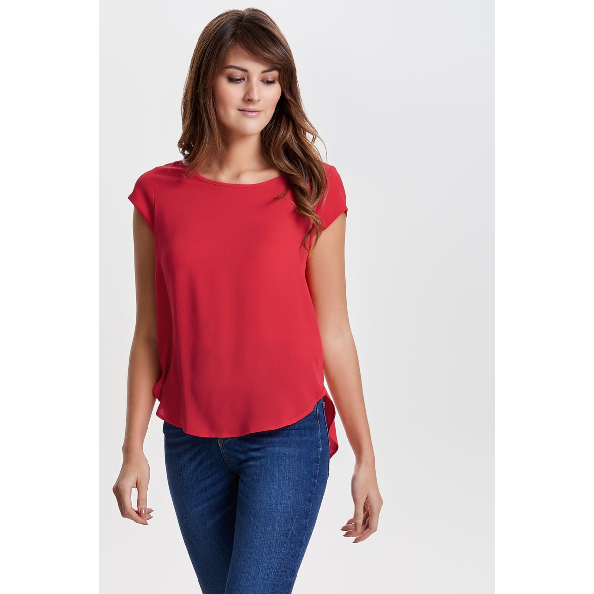 onlvic s/s solid top noos wvn 15142784 only t-shirt high risk red