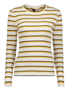 Vero Moda Trui VMSANDY L/S STRIPED RIB TOP SB3 10200871 Snow White/BLACK AND