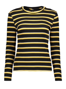 Vero Moda Trui VMSANDY L/S STRIPED RIB TOP SB3 10200871 Black/MANGO MOJI