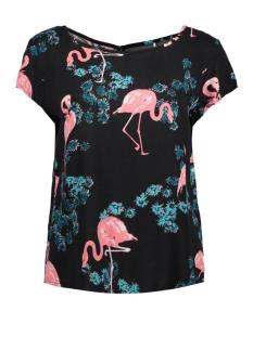 Jacqueline de Yong T-shirt JDYMAUDE S/S TOP WVN EXP 15155745 Black/FLAMINGO
