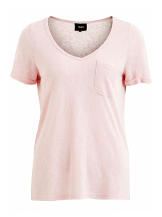Object T-shirt OBJTESSI SLUB S/S V-NECK NOOS 23023816 Pink Nectar