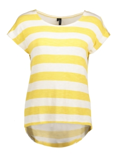 Vero Moda T-shirt VMWIDE STRIPE S/L TOP NOOS 10190017 Geel/Snow White