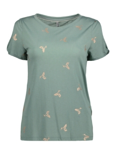 Only T-shirt onlNEW ISABELLA S/S FOIL AOP TOP BO 15156472 Chinois Green/COLIBRI