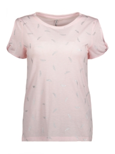 Only T-shirt onlNEW ISABELLA S/S FOIL AOP TOP BO 15156472 Ballet Slipper/FEATHER