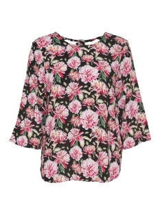 Jacqueline de Yong T-shirt JDYVICTORY 3/4 BOW BLOUSE WVN 15149705 Black/PINK FLOWER