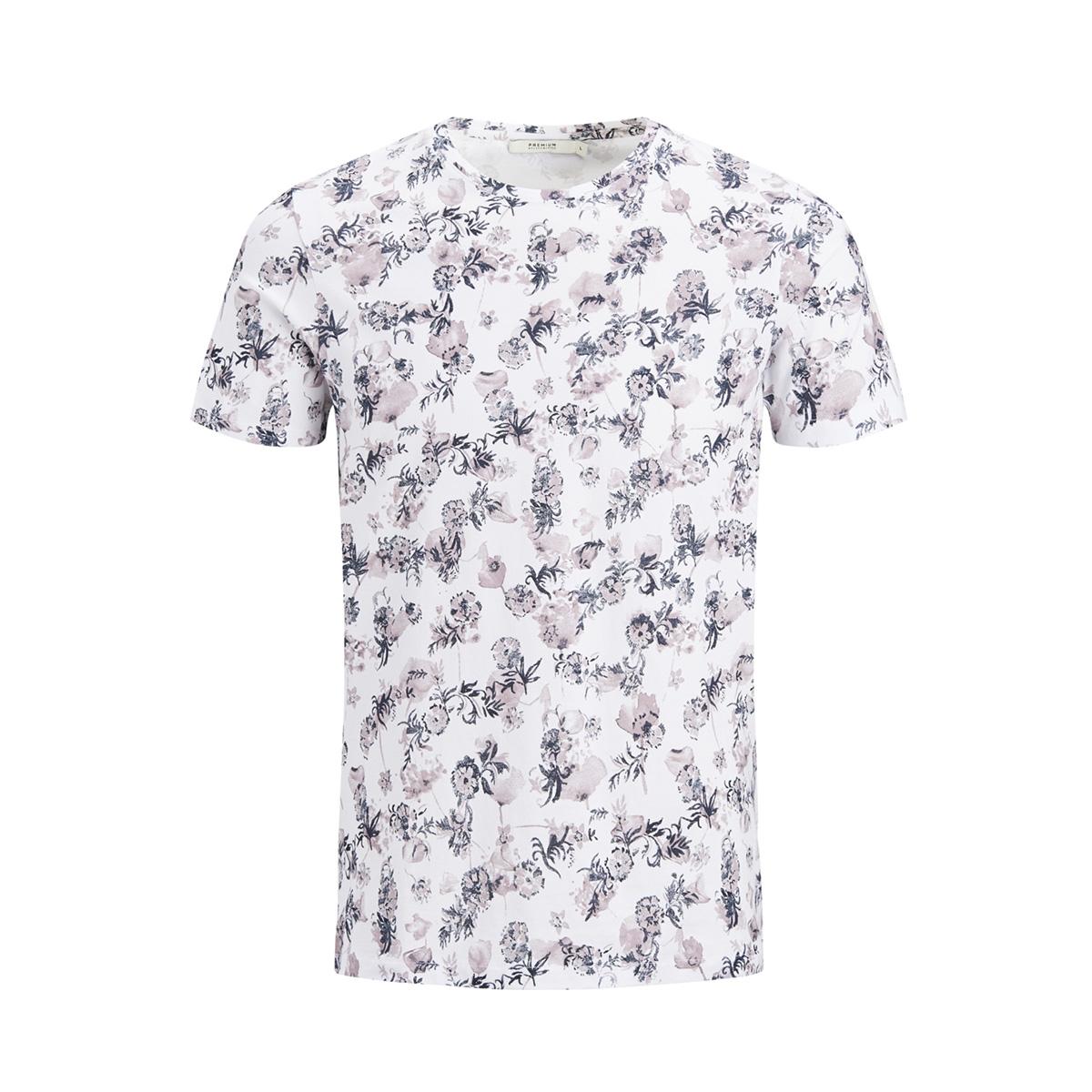 jprrussel tee ss crew neck 12135541 jack & jones t-shirt white/toadstool