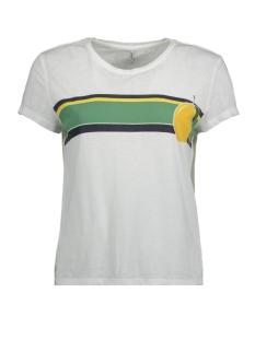 Only T-shirt onlTRULY FRUITY S/S PRINT BOX JRS 15160982 Bright White/LEMON