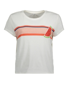 Only T-shirt onlTRULY FRUITY S/S PRINT BOX JRS 15160982 White/WATERMELON