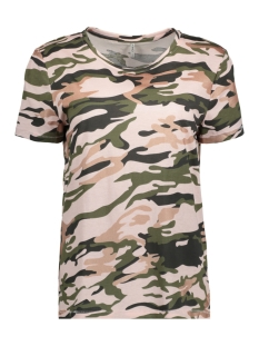 Only T-shirt onlLAYLA S/S WHY/CAMO TOP BOX JRS 15156787 Ballet Slipper/CAMO