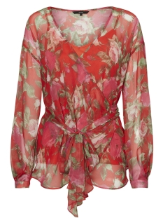 Vero Moda Blouse VMLILI CHIF WRAP TOP D2-3 10197291 Poppy Red/Lili Print