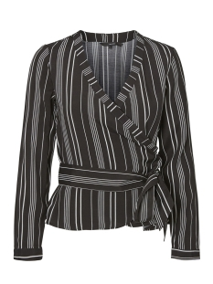 Vero Moda Blouse VMLAURA LS WRAP TOP 10196169 Black/SNOW WHITE