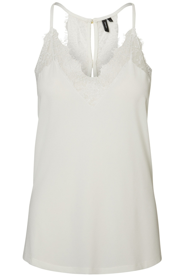 vmmilla s/l lace top noos 10185863 vero moda top snow white