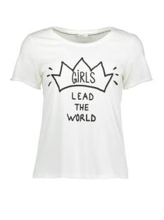 Only T-shirt onlHAPPY ISA S/S AOP T-SHIRT JRS 15156728 Cloud Dancer / Girls
