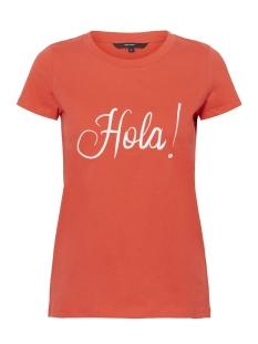 Vero Moda T-shirt VMLOLA S/S TEE D2-3 10197366 Poppy Red/HOLA EMBRO