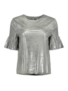 Only T-shirt onlCELINE SS FAUX SUEDE FRILL TOP O 15155674 Silver