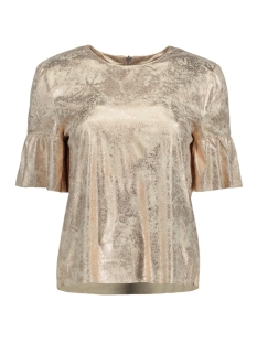 Only T-shirt onlCELINE SS FAUX SUEDE FRILL TOP O 15155674 Frosted Almond