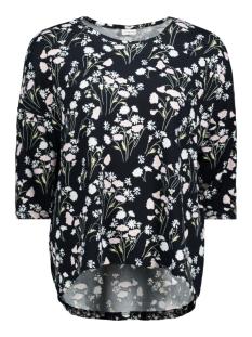 Jacqueline de Yong T-shirt JDYWINNER 3/4 AOP TOP JRS EXP NOOS 15160186 Navy Blazer/FLOWER