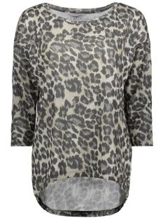 Only T-shirt onlSILVERY 3/4 LEO ZIGZAG TOP JRS 15165923 Silver/LEO