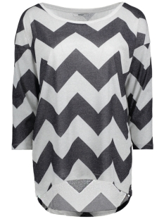 Only Trui onlSILVERY 3/4 LEO ZIGZAG TOP JRS 15165923 Silver/ZIGZAG