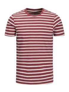 Jack & Jones T-shirt JJESTRIPE TEE SS CREW NECK STS 12136760 Brick Red/Slim Fit