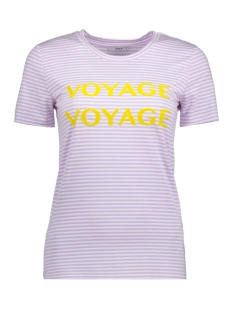 Only T-shirt onlVOYAGE S/S TOP BOX JRS 15166396 Lavender / Voyage