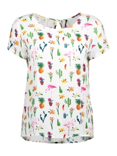 Only T-shirt onlFIRST SS MIX AOP TOP  NOOS WVN 15138761 Cloud Dancer / Flamingo