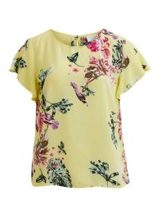 Vila T-shirt VILUCY S/S FLOUNCE TOP - FAV 14045856 Yellow Iris / Vitetri Pr