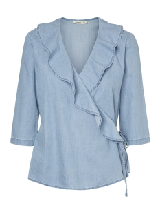 Vero Moda Blouse VMLOLA 3/4 CHAMBRAY WRAP SHIRT GA 10199441 Light Blue Denim