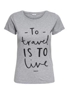 Jacqueline de Yong T-shirt JDYCITY S/S PRINT TOP 04 JRS 15151972 Light Grey mela/ TRAVEL