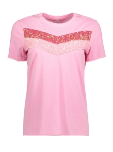 Only T-shirt onlJAMILA S/S SEQUINS TOP JRS 15157871 Begonia Pink