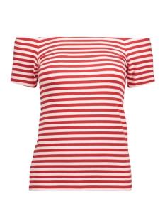 Only T-shirt onlLIVE LOVE STRIPE SS OFF SHOULDER 15167189 High Risk Red/CLOUD DANCE