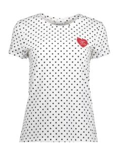Noisy may T-shirt NMNATE DOT S/S T-SHIRT D1 27004319 Bright White/BLACK DOT