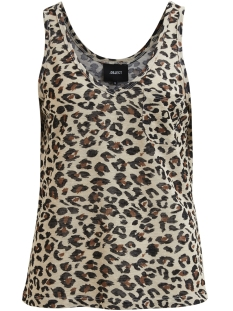 Object Top OBJTESSI S/L V-NECK TANK TOP 97 23027155 Oatmeal/CHEETAH AOP