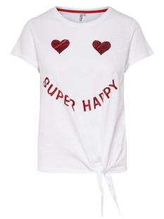 Only T-shirt onlBELLA S/S KNOT TOP BOX JRS 15157894 Bright White/SMILEY1