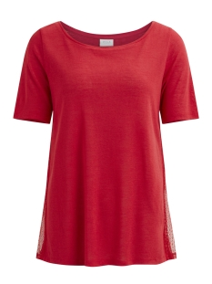 Vila T-shirt VISUMI S/S SIDE LACE T-SHIRT/TB 14047116 Tomato Puree