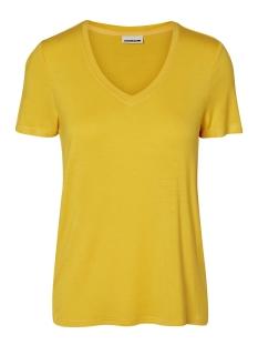 Noisy may T-shirt NMHARRY V-NECK  S/S TOP COL. 27001074 Lemon Chrome