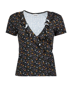 Noisy may T-shirt NMRAVEN S/S WRAP TOP 4 27002527 BLACK/ FLOWERS