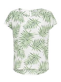 Jacqueline de Yong T-shirt JDYCARLA S/S TOP WVN 15160048 Cloud Dancer/Green Leaf