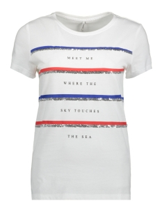 Only T-shirt onlKITA S/S RIVIERA TOP BOX JRS  15157882 Bright White/MEET