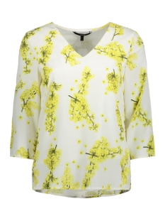 Vero Moda T-shirt MADINA POL 3/4 MIDI TOP D2-4 10198643 Snow White/ADINA PRINT