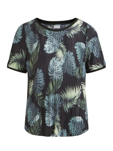Vila T-shirt VIBLOOMIA S/S T-SHIRT/2 14048300 Black Aop/VIPALMAS GREEN