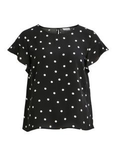 Vila T-shirt VILUCY S/S FLOUNCE TOP - LUX 14045883 Black/DOTINAS