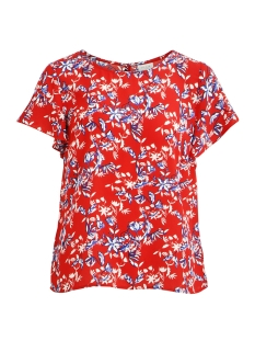 Vila T-shirt VILUCY S/S FLOUNCE TOP - LUX 14045883 Racing Red/TULIANA