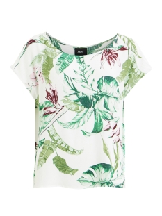 Object T-shirt OBJLEAVE S/S PERRY TOP A HS DIV 23027487 GARDENIA/LEAVE AOP